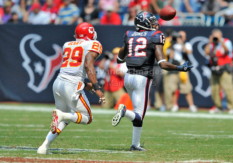 Oct 17 2010:  <br /> Houston Texans wide receiver Jacoby Jones #12 juggles the ball before finally catching it for a first down is tackled by Kansas City Chiefs defensive back James Berry #29<br /> in a game between Kansas City Chiefs and the Houston Texans at Reliant Stadium in Houston, Texas.<br /> Houston wins 35-31<br /> (Credit Image: © Manny Flores/Cal Sport Media)