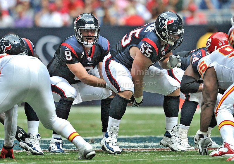 17 Oct 2010:  <br /> Houston Texans quarterback Matt Schaub #8 gets the ball from Houston Texans center Chris Myers #55 <br /> in a game between the Kansas City Chiefs and the Houston Texans at Reliant Stadium in Houston, Texas.<br /> Houston wins 35-31