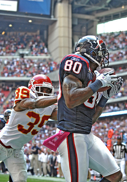17 Oct 2010:  <br /> Houston Texans wide receiver Andre Johnson #80 catches  the ball for the winning touchdown with less than a minute to play n a game between the Kansas City Chiefs and the Houston Texans at Reliant Stadium in Houston, Texas.<br /> Houston wins 35-31