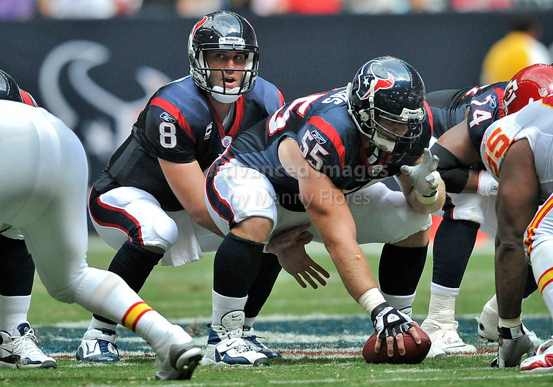 Oct 17 2010:  <br /> Houston Texans quarterback Matt Schaub #8 takes a snap from Houston Texans center Chris Myers #55 in a game between Kansas City Chiefs and the Houston Texans at Reliant Stadium in Houston, Texas.<br /> Houston wins 35-31<br /> (Credit Image: © Manny Flores/Cal Sport Media)