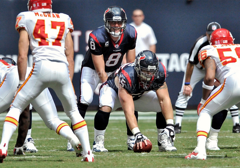 Oct 17 2010:  <br /> Houston Texans quarterback Matt Schaub #8 in action<br /> in a game between Kansas City Chiefs and the Houston Texans at Reliant Stadium in Houston, Texas.<br /> Houston wins 35-31<br /> (Credit Image: © Manny Flores/Cal Sport Media)