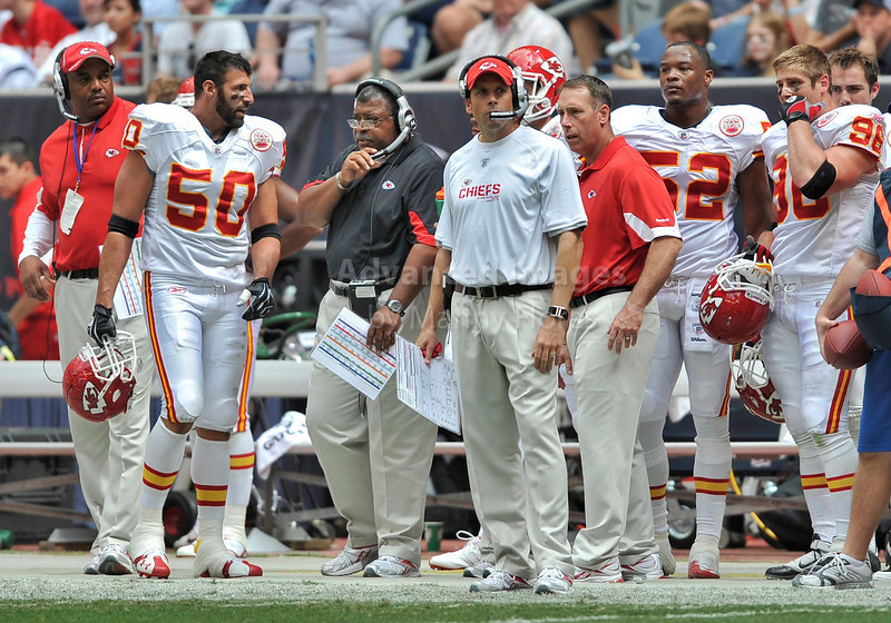 Oct 17 2010:  <br /> Kansas City Chiefs head coach Todd Haley in action<br /> in a game between Kansas City Chiefs and the Houston Texans at Reliant Stadium in Houston, Texas.<br /> Houston wins 35-31<br /> (Credit Image: © Manny Flores/Cal Sport Media)