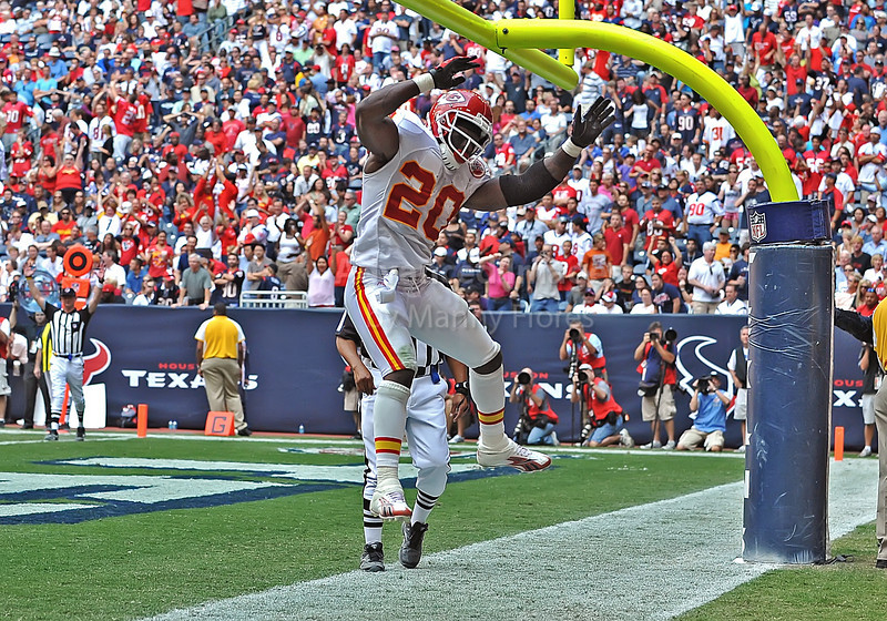 17 Oct 2010:  <br /> Kansas City Chiefs running back Thomas Jones #20 carries the ball for a touchdown in a game between the Kansas City Chiefs and the Houston Texans at Reliant Stadium in Houston, Texas.<br /> Houston wins 35-31