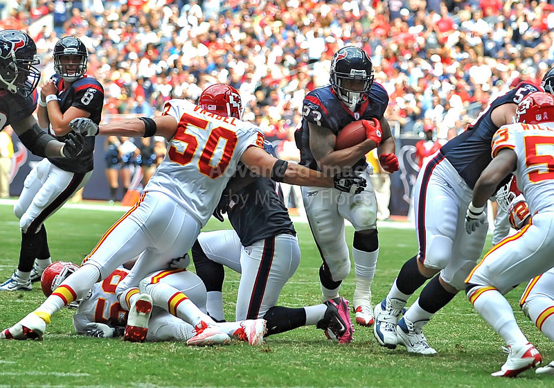 17 Oct 2010:  <br /> Houston Texans running back Arian Foster #23 carries the ball<br /> in a game between the Kansas City Chiefs and the Houston Texans at Reliant Stadium in Houston, Texas.<br /> Houston wins 35-31