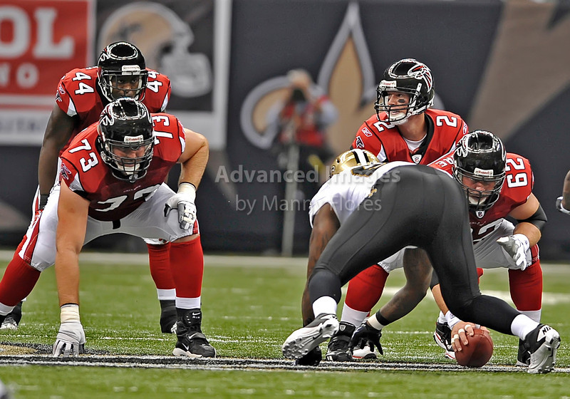 Sept 26 2010:  <br /> Atlanta Falcons quarterback Matt Ryan #2 calls the plays as Atlanta Falcons guard Harvey Dahl #73 and Atlanta Falcons running back Jason Snelling #44 get ready in a game between Atlanta Falcons vs New Orleans Saints at the Superdome in New Orleans, LA. <br /> Atlanta Falcons win in overtime 27-24<br /> (Credit Image: © Manny Flores/Cal Sport Media)