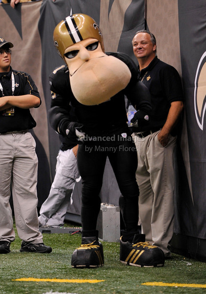 Sept 26 2010:  <br /> Saints Mascot enjoying the game<br /> in a game between Atlanta Falcons vs New Orleans Saints at the Superdome in New Orleans, LA. <br /> Atlanta Falcons win in overtime 27-24<br /> (Credit Image: © Manny Flores/Cal Sport Media)