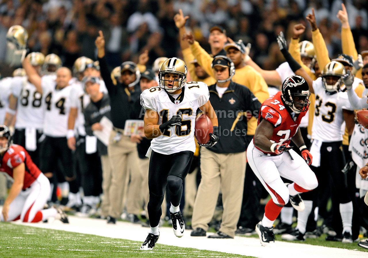 Sept 26 2010:  <br /> New Orleans Saints wide receiver Lance Moore #16 gets open and makes a big play on special teams in a game between Atlanta Falcons vs New Orleans Saints at the Superdome in New Orleans, LA. <br /> Atlanta Falcons win in overtime 27-24<br /> (Credit Image: © Manny Flores/Cal Sport Media)