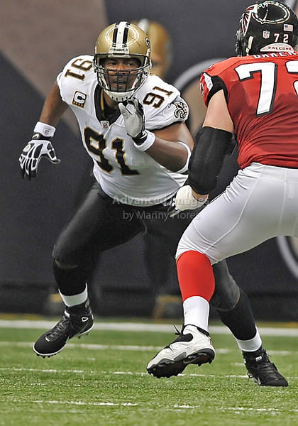 Sept 26 2010:  <br /> New Orleans Saints defensive end Will Smith #91 rushes the QB<br /> in a game between Atlanta Falcons vs New Orleans Saints at the Superdome in New Orleans, LA. <br /> Atlanta Falcons win in overtime 27-24<br /> (Credit Image: © Manny Flores/Cal Sport Media)