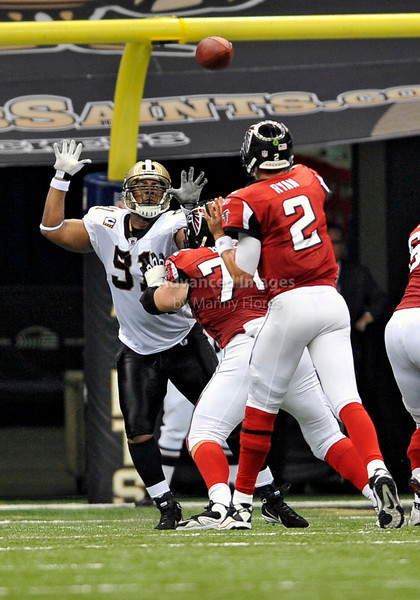 Sept 26 2010:  <br /> Atlanta Falcons quarterback Matt Ryan #2 passes the ball as New Orleans Saints defensive end Will Smith #91 tries to bat the ball down<br /> in a game between Atlanta Falcons vs New Orleans Saints at the Superdome in New Orleans, LA. <br /> Atlanta Falcons win in overtime 27-24<br /> (Credit Image: © Manny Flores/Cal Sport Media)