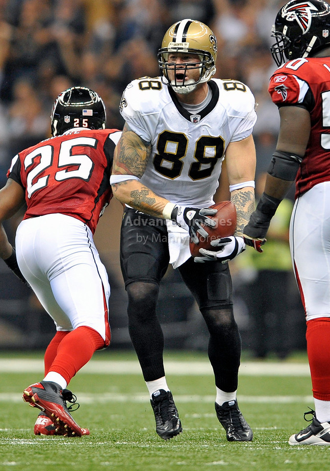 Sept 26 2010:  <br /> New Orleans Saints tight end Jeremy Shockey #88 in action<br /> in a game between Atlanta Falcons vs New Orleans Saints at the Superdome in New Orleans, LA. <br /> Atlanta Falcons win in overtime 27-24<br /> (Credit Image: © Manny Flores/Cal Sport Media)