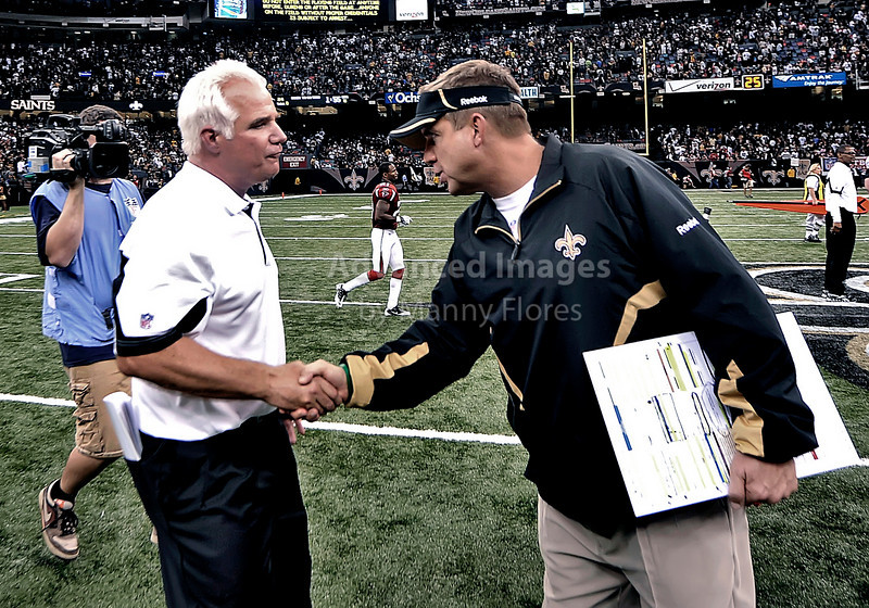 Sept 26 2010:  <br /> New Orleans Saints head coach Sean Payton shakes hands with Atlanta Falcons head coach Mike Smith after the game between Atlanta Falcons vs New Orleans Saints at the Superdome in New Orleans, LA. <br /> Atlanta Falcons win in overtime 27-24<br /> (Credit Image: © Manny Flores/Cal Sport Media)