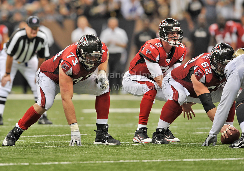 Sept 26 2010:  <br /> Atlanta Falcons quarterback Matt Ryan #2 calls the signals as Atlanta Falcons guard Harvey Dahl #73 gets ready<br /> in a game between Atlanta Falcons vs New Orleans Saints at the Superdome in New Orleans, LA. <br /> Atlanta Falcons win in overtime 27-24<br /> (Credit Image: © Manny Flores/Cal Sport Media)