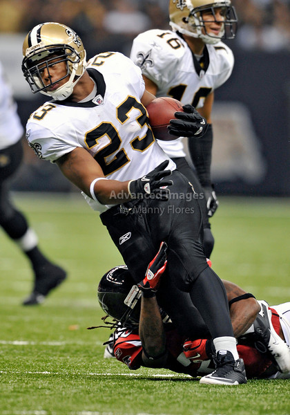 Sept 26 2010:  <br /> New Orleans Saints running back Pierre Thomas #23 in action<br /> in a game between Atlanta Falcons vs New Orleans Saints at the Superdome in New Orleans, LA. <br /> Atlanta Falcons win in overtime 27-24<br /> (Credit Image: © Manny Flores/Cal Sport Media)