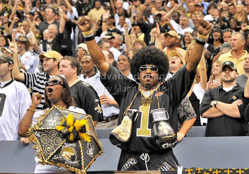 Sept 26 2010:  <br /> New Orleans fans cheer on their team<br /> in a game between Atlanta Falcons vs New Orleans Saints at the Superdome in New Orleans, LA. <br /> Atlanta Falcons win in overtime 27-24<br /> (Credit Image: © Manny Flores/Cal Sport Media)