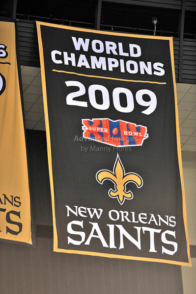 Sept 26 2010:  <br /> New Orleans Saints 2009 World Champions Banner<br /> in a game between Atlanta Falcons vs New Orleans Saints at the Superdome in New Orleans, LA. <br /> Atlanta Falcons win in overtime 27-24<br /> (Credit Image: © Manny Flores/Cal Sport Media)