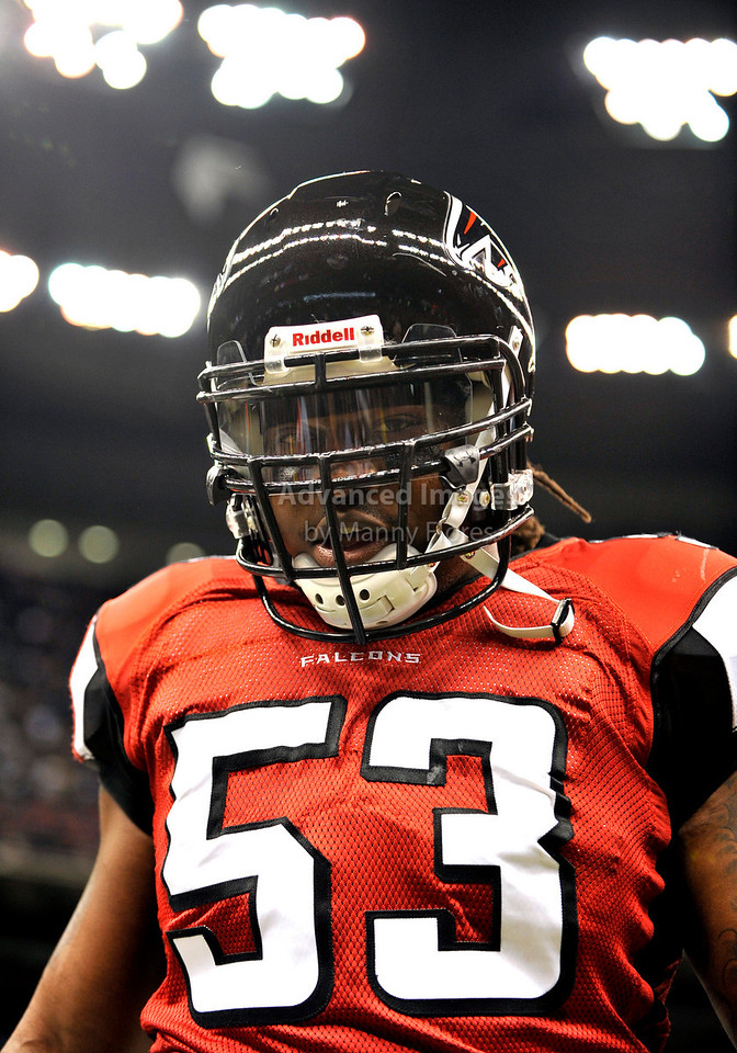 Sept 26 2010:  <br /> Atlanta Falcons linebacker Mike Peterson #53 in action<br /> in a game between Atlanta Falcons vs New Orleans Saints at the Superdome in New Orleans, LA. <br /> Atlanta Falcons win in overtime 27-24<br /> (Credit Image: © Manny Flores/Cal Sport Media)