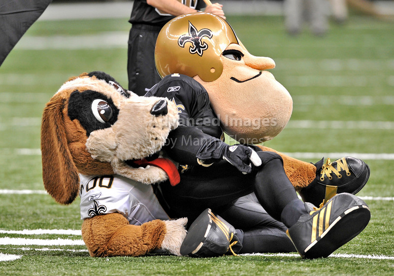 Sept 26 2010:  <br /> New Orleans Saints Mascots in action<br /> in a game between Atlanta Falcons vs New Orleans Saints at the Superdome in New Orleans, LA. <br /> Atlanta Falcons win in overtime 27-24<br /> (Credit Image: © Manny Flores/Cal Sport Media)