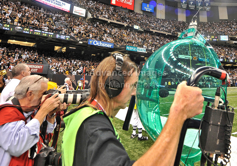 Sept 26 2010:  <br /> NFL sound man on the sidelines<br /> in a game between Atlanta Falcons vs New Orleans Saints at the Superdome in New Orleans, LA. <br /> Atlanta Falcons win in overtime 27-24<br /> (Credit Image: © Manny Flores/Cal Sport Media)