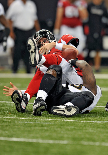 Sept 26 2010:  <br /> Atlanta Falcons quarterback Matt Ryan #2 is sacked<br /> in a game between Atlanta Falcons vs New Orleans Saints at the Superdome in New Orleans, LA. <br /> Atlanta Falcons win in overtime 27-24<br /> (Credit Image: © Manny Flores/Cal Sport Media)