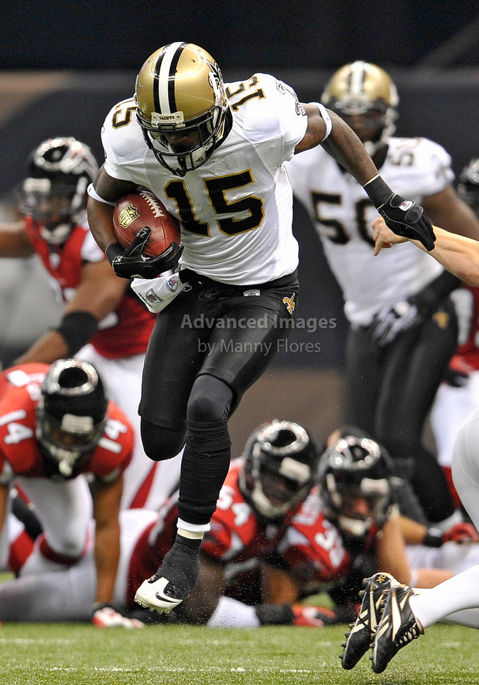 Sept 26 2010:  <br /> New Orleans Saints wide receiver Courtney Roby #15 makes a big play on special teams<br /> in a game between Atlanta Falcons vs New Orleans Saints at the Superdome in New Orleans, LA. <br /> Atlanta Falcons win in overtime 27-24<br /> (Credit Image: © Manny Flores/Cal Sport Media)