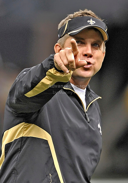Sept 26 2010:  <br /> New Orleans Saints head coach Sean Payton in action<br /> in a game between Atlanta Falcons vs New Orleans Saints at the Superdome in New Orleans, LA. <br /> Atlanta Falcons win in overtime 27-24<br /> (Credit Image: © Manny Flores/Cal Sport Media)