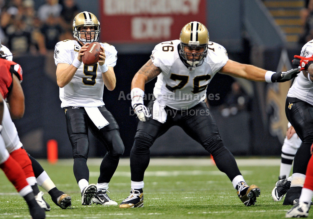 Sept 26 2010:  <br /> New Orleans Saints quarterback Drew Brees #9 and New Orleans Saints center Jonathan Goodwin #76 in a game between Atlanta Falcons vs New Orleans Saints at the Superdome in New Orleans, LA. <br /> Atlanta Falcons win in overtime 27-24<br /> (Credit Image: © Manny Flores/Cal Sport Media)
