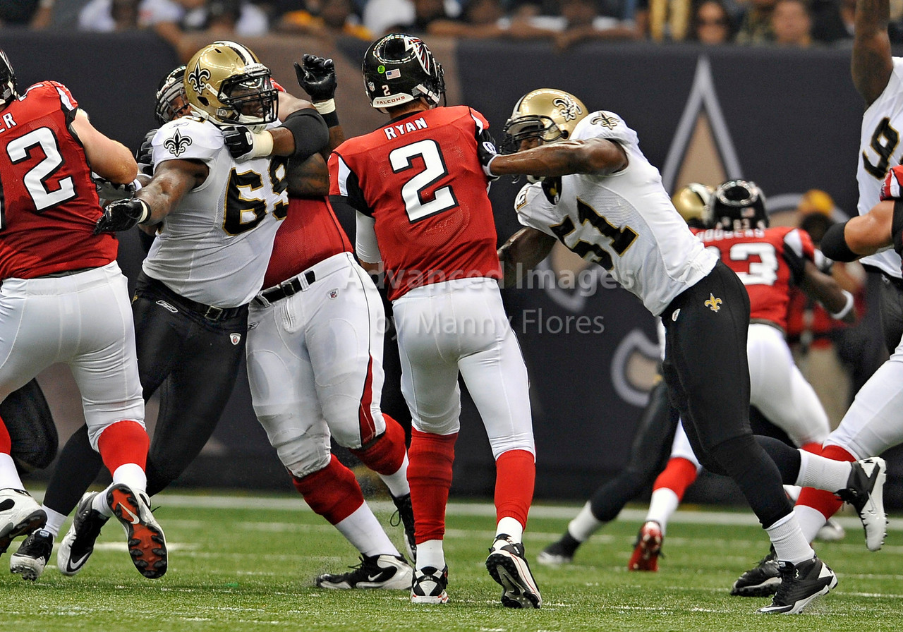 Sept 26 2010:  <br /> Atlanta Falcons quarterback Matt Ryan #2 is hit by New Orleans Saints linebacker Jonathan Vilma #51 as he throws the ball<br /> in a game between Atlanta Falcons vs New Orleans Saints at the Superdome in New Orleans, LA. <br /> Atlanta Falcons win in overtime 27-24<br /> (Credit Image: © Manny Flores/Cal Sport Media)