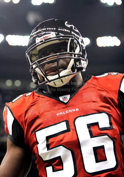Sept 26 2010:  <br /> Atlanta Falcons linebacker Sean Weatherspoon #56<br /> in a game between Atlanta Falcons vs New Orleans Saints at the Superdome in New Orleans, LA. <br /> Atlanta Falcons win in overtime 27-24<br /> (Credit Image: © Manny Flores/Cal Sport Media)