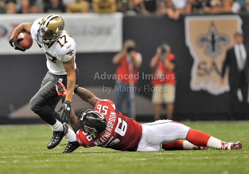 Sept 26 2010:  <br /> New Orleans Saints wide receiver Robert Meachem #17 tries to elude Atlanta Falcons linebacker Sean Weatherspoon #56<br /> in a game between Atlanta Falcons vs New Orleans Saints at the Superdome in New Orleans, LA. <br /> Atlanta Falcons win in overtime 27-24<br /> (Credit Image: © Manny Flores/Cal Sport Media)