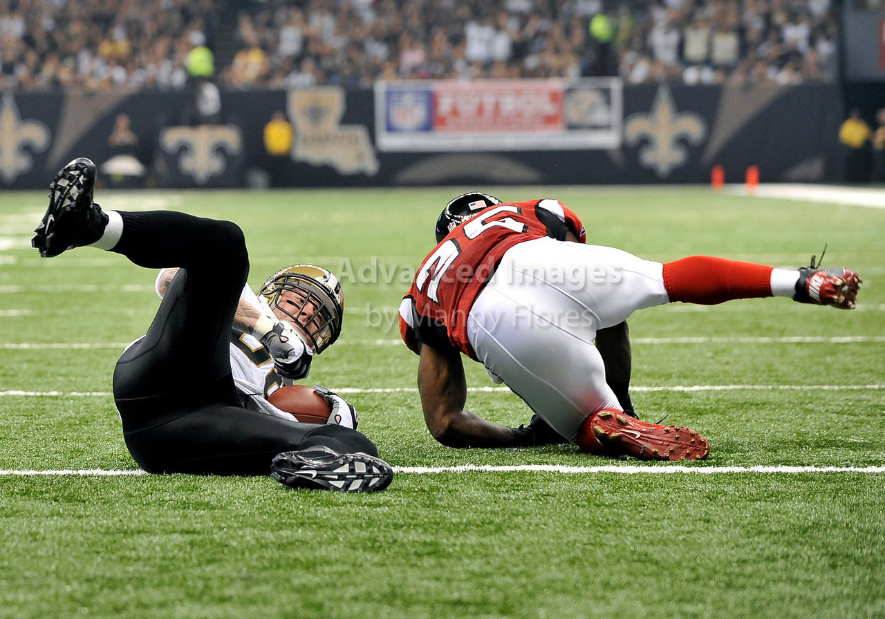 Sept 26 2010:  <br /> New Orleans Saints tight end Jeremy Shockey #88 gets a touchdown<br /> in a game between Atlanta Falcons vs New Orleans Saints at the Superdome in New Orleans, LA. <br /> Atlanta Falcons win in overtime 27-24<br /> (Credit Image: © Manny Flores/Cal Sport Media)
