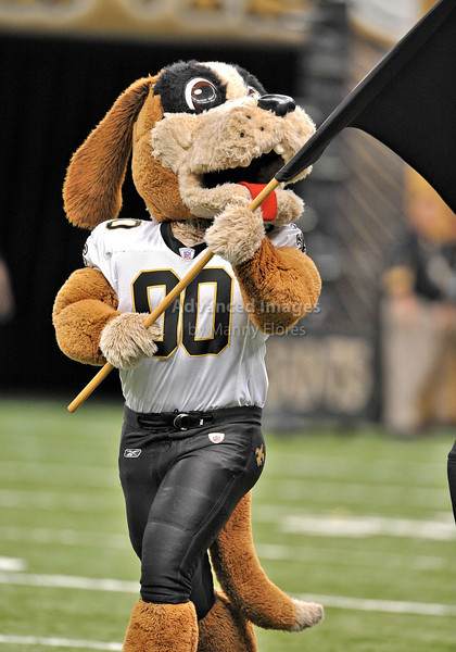Sept 26 2010:  <br /> New Orleans Saints Mascot in action<br /> in a game between Atlanta Falcons vs New Orleans Saints at the Superdome in New Orleans, LA. <br /> Atlanta Falcons win in overtime 27-24<br /> (Credit Image: © Manny Flores/Cal Sport Media)