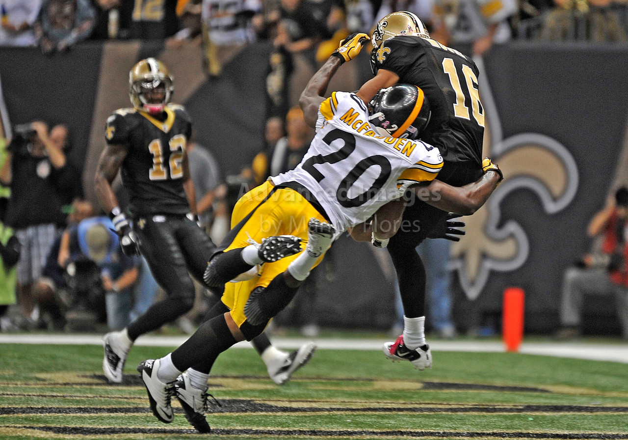OCT 31 2010:  <br /> New Orleans Saints wide receiver Lance Moore #16 catches the winning touchdown as he is tackled by Pittsburgh Steelers cornerback Bryant McFadden #20 and Pittsburgh Steelers safety Troy Polamalu #43 in a game between Pittsburgh Steelers and New Orleans Saints at the Louisiana Superdome Stadium in New Orleans, LA.<br />  Saints win 20-10<br /> (Credit Image: © Manny Flores/Cal Sport Media)