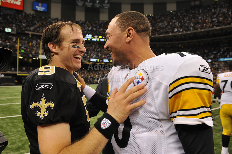 OCT 31 2010:  <br /> New Orleans Saints quarterback Drew Brees and Pittsburgh Steelers quarterback Dennis Dixon #10 meet up after the game between Pittsburgh Steelers and New Orleans Saints at the Louisiana Superdome Stadium in New Orleans, LA.<br />  Saints win 20-10<br /> (Credit Image: © Manny Flores/Cal Sport Media)