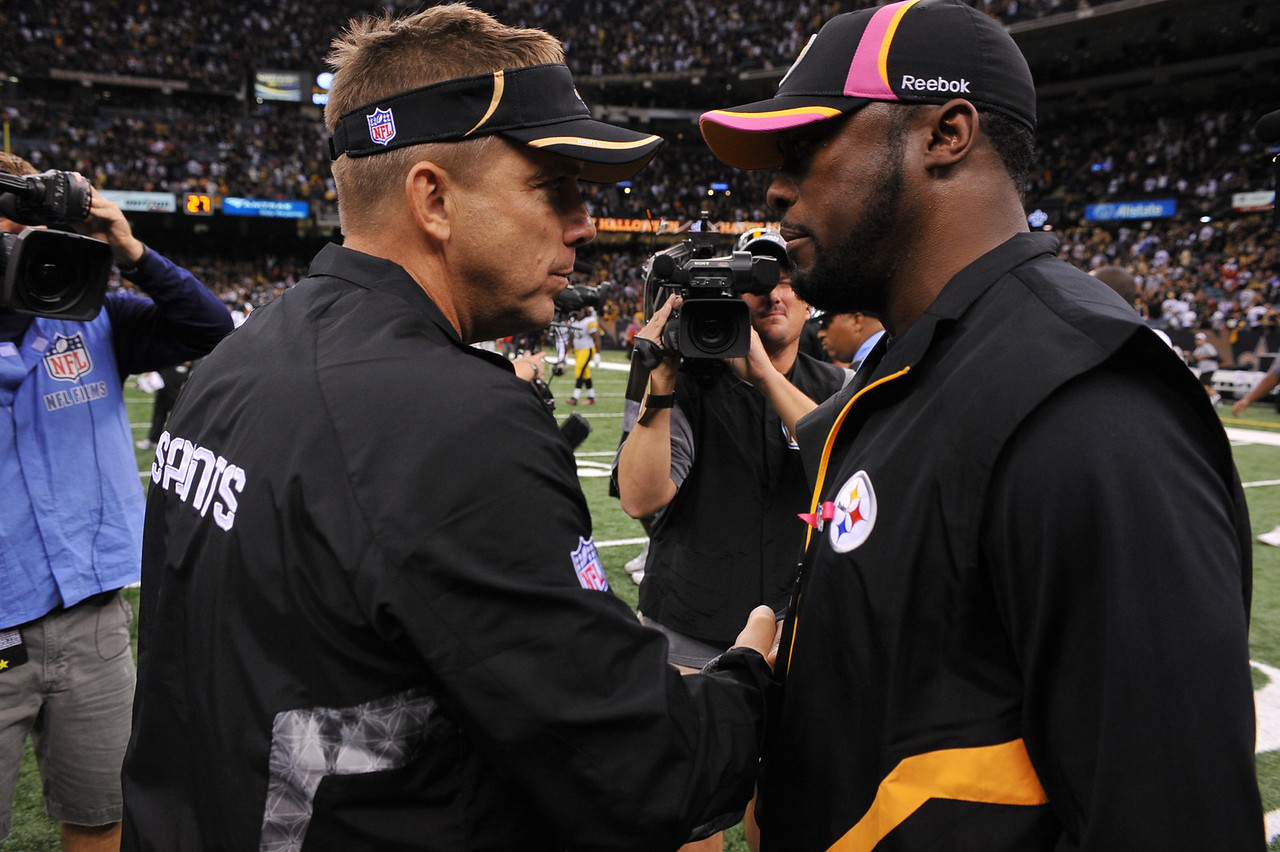 OCT 31 2010:  <br /> New Orleans Saints head coach Sean Payton shakes hands with Pittsburgh Steelers head coach Mike Tomlin after the game between Pittsburgh Steelers and New Orleans Saints at the Louisiana Superdome Stadium in New Orleans, LA.<br />  Saints win 20-10<br /> (Credit Image: © Manny Flores/Cal Sport Media)