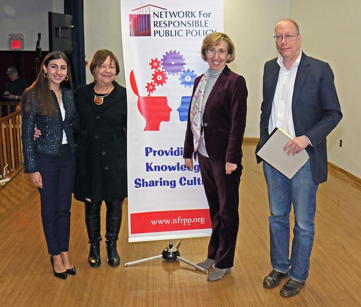 L to R: Amanda Nesheiwat, the moderator, Rhoda Schermer, President NFRPP, Dr. Serpil Guran,  Matt Civello