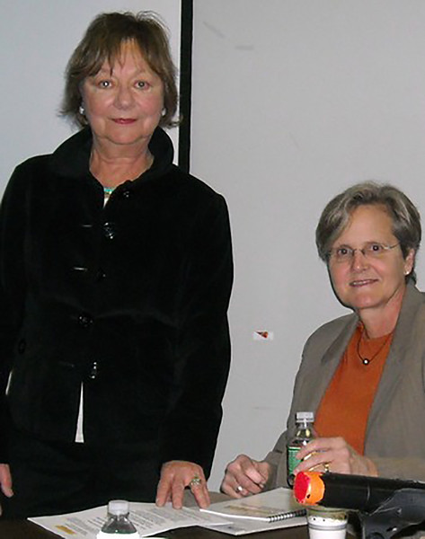 Rhoda Schermer of NJPPN with Gina Genovese, Executive Director of  Courage to Connect NJ.  Photo Credit Linda Telsesco.