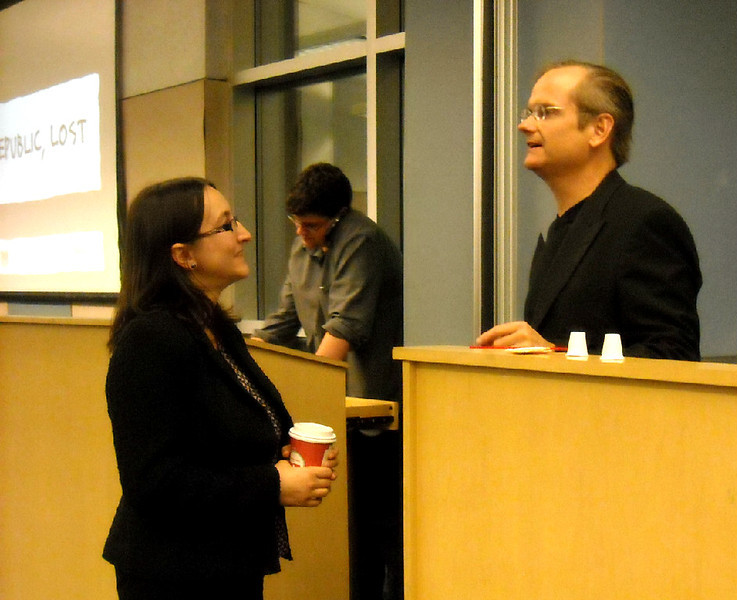 Lawrence Lessig with Professor Mia Serban, Program Moderator, Ramapo College