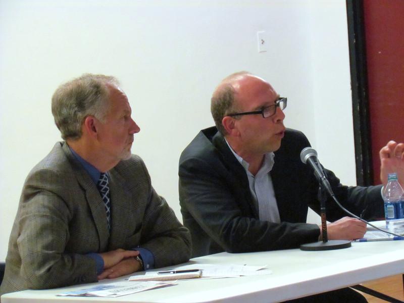 (L to R) Anthony DePalma, Writer in Residence at Seton Hall University and Prof. Jay Rosen