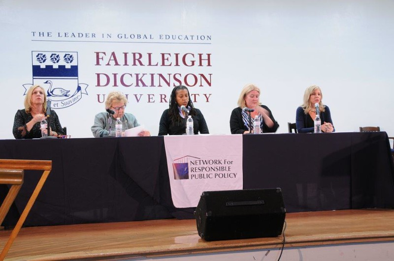 Valerie Vainieri Huttle (D) 37th District, Loretta Weinberg, Senate Majority Leader (D), Brandi Blessett PhD., Moderator, Holly Schepisi (R) 39th,  Krista Jenkins, Prof. Political Science FDU