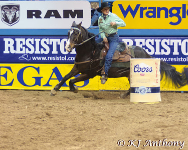 Wrangler National Finals Rodeo at Thomas and Mack in Las Vegas, NV - December 6 to 15, 2012.  Barrel racing is a high speed, athletic event that requires precision and timing. Barrel racing is primarily an event for women. Cowgirls and their horse will attempt to complete a clover leaf pattern around three barrels in the fastest time without knocking over any barrels. We would like to thank the Thomas and Mack, the PRCA (Professional Rodeo Cowboys Association), the WPRA (Women's Professional Rodeo Association) the Cowboys and Cowgirls, the stock contractors, and the fans for their support of rodeo.