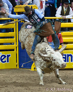 The Professional Rodeo Cowboys Association held the 54th Wrangler National Finals Rodeo, December 6 to 15, 2012 at the Thomas and Mack in Las Vegas.  Bull riding is a dangerous both during the ride and after the ride. Cowboys who ride bulls are mentally and physically tough.  The bull rider will attempt to ride his bull for eight seconds, and will be disqualified if he touches the bull or himself with his free hand. The bull will do everything he can to get the rider off his back, twisting, turning, and bucking, all in attempt to dislodge the bull rider.  We would like to thank the Thomas and Mack, the PRCA (Professional Rodeo Cowboys Association), the Cowboys and Cowgirls, the stock contractors, and the fans for their support of rodeo.  Come join us for ten days of rides, the wrecks, and the unforgettable moments of the Wrangler National Finals Rodeo. Let's Ride!!