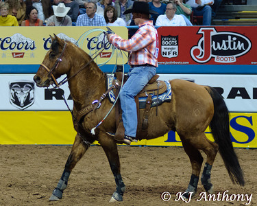 The Professional Rodeo Cowboys Association held the 54th Wrangler National Finals Rodeo, December 6 to 15, 2012 at the Thomas and Mack in Las Vegas.  Team Roping is a true team event between two cowboys - a header and a heeler. Team Ropers start from the roping box, the header will rope the steer by the horns, and the heeler will attempt to rope both hind legs of the steer. The clock stops when the horses are turned facing each other and the steer, and the ropes are tight. We would like to thank the Thomas and Mack, the PRCA (Professional Rodeo Cowboys Association), the Cowboys and Cowgirls, the stock contractors, and the fans for their support of rodeo.