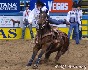 The Professional Rodeo Cowboys Association held the 54th Wrangler National Finals Rodeo, December 6 to 15, 2012 at the Thomas and Mack in Las Vegas. Tie Down Roping was formerly known as calf roping, an event where the cowboy and his horse work together to catch a calf. The calf is given a head start, and the cowboy and his horse start in the box behind a barrier, which is released when the calf reaches the predetermined advantage point. The cowboy ropes the calf, dismounts, and runs down the rope to the calf. From there the cowboy will flank the calf, and tie three of the calf's legs together with a short rope or 'piggin string.' The cowboy will throw his hands in the air to let the judge know he is done, the cowboy then remounts his horse. The cowboy rides his horse forward placing slack in the rope. The calf must then remain tied for six seconds, if the calf gets free before then; the cowboy receives a no score.  We would like to thank the Thomas and Mack, the PRCA (Professional Rodeo Cowboys Association), the Cowboys and Cowgirls, the stock contractors, and the fans for their support of rodeo.