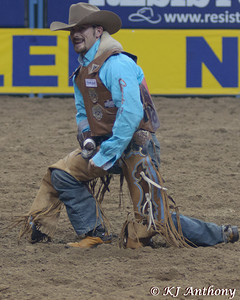 The 54th Wrangler National Finals Rodeo at Thomas and Mack in Las Vegas, NV - December 6 to 15, 2012.  Bareback riding is a roughstock event where the contestant's score is equally dependent upon his performance and the horse's performance.  The cowboy will attempt to ride his horse for eight seconds by hanging on to a handle similar to a suitcase handle on a strap, cinched on his horse.  We would like to thank the Thomas and Mack, the PRCA (Professional Rodeo Cowboys Association), the Cowboys and Cowgirls, the stock contractors, and the fans for their support of rodeo.