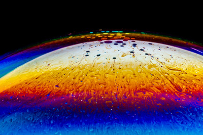 Soap Bubble Refracted Color and Evaporation in Halo