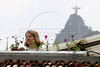 Temple student Elissa Ranck installs plants in a hydoponic grower near the Christ the redeemer statue in the Santa Marta slum in Rio de Janeiro, August 19, 2005. Using hydroponics, a little hard labor and lots of ingenuity, Temple University students spend their vacation time building and installing a farming apparatus that turns the walls and roofs of slum residents into small gardens. The technology, part of a broader environmental movement known as green roofing, helps residents compensate for land shortages by supporting miniature plant nurseries from their homes. Green roofing is popular in Europe for its environmental and aesthetic benefits, but this is an initial attempt to show that the technology can also provide sustenance for the poor. (Australfoto/Douglas Engle)(Australfoto/Douglas Engle)(Australfoto/Douglas Engle)