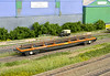 Air-braked Borails finished as YMA and YLA 'Mullet' in mid 80's condition.<br /> Built from the N Gauge society kit NGS KIT 39, but heavily modified - see article in British Railway Modelling - May 2012.<br /> As the kit is supplied and I'm sure to keep it practical, the side ratchet strap pockets lack relief and the flooring is a little too thick resulting in shallow inner sides  –  so for added realism everything from the solebars upwards was scratch built.<br /> Loads are from 2mm Scale Association EasyTrack components.