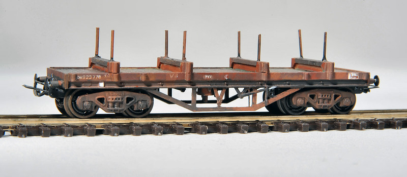 Built from a Parkwood Models Kit as a Bolster E YYV - as such the kit is not difficult to build - the kit also has an option to be finished as a 'TURBOT' but this required further modifications to produce a good looking model.<br /> Fitted with B&B Couplings and N Gauge Society Gloucester bogies. Photography by Tony Wright.