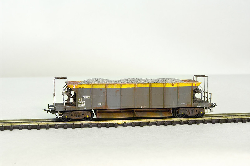 The largest of the BR built ballast hoppers to be derived from the original SR designs was the 50t YHA 'WHALE'.<br /> This model was built from 2 Graham Farish Seacows, which were cut and rejoined to form the larger hopper - the operating platforms were then shortened, bogies replaced, the chutes stretched, and all operating details modified to suit. <br /> The buffers were turned down from the originals, and B&B Couplings have been fitted.<br /> Please note - The N Gauge Society plastic SEACOW kit can NOT be used for this conversion as the body type is incorrect.