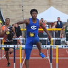 Gibraltar Carlson's Jaylan Franklin (169) dominated the 300m hurdles at Saturday's inaugural Metro Classic at Wyandotte Roosevelt. He finished nearly three seconds ahead of second-place Daveon Palmer of Belleville. (MIPrepZone Photo Gallery by Frank Wladyslawski)